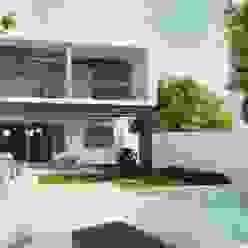 Fachada posterior Diez y Nueve Grados Arquitectos Albercas minimalistas Blanco