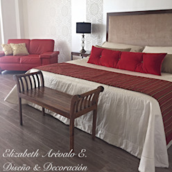 ea interiorismo Eclectic style bedroom Red