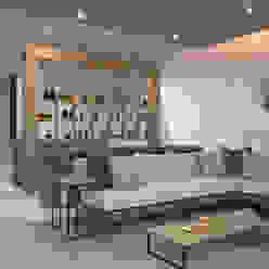 Vista de la sala y el bar homify Salones minimalistas