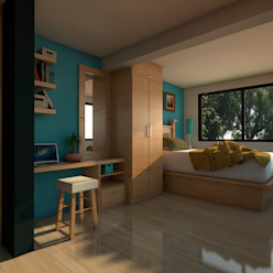 Recámara azul Arqternativa Dormitorios modernos Derivados de madera Azul