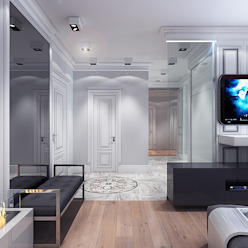 Studio. The kitchen and living room Коридор, прихожая и лестница в эклектичном стиле от Your royal design Эклектичный