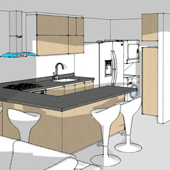 Render cocina integral Cocinas modernas de Remodelar Proyectos Integrales Moderno Tablero DM