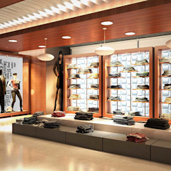 Showroom interior design Modern shopping centres by Axis Group Of Interior Design Modern