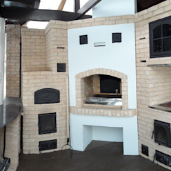 Кухня с большим очагом Печи Кузнецова +7 912 283 89 78 КухняКухонная мебель Кирпичи Белый
