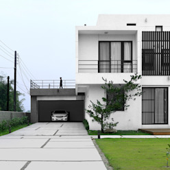 Four season house 夏沐森山設計整合 現代房屋設計點子、靈感 & 圖片