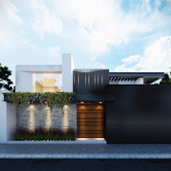 Propuesta de fachada exterior 1 Besana Studio Casas minimalistas Blanco