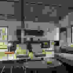 Living Room & Kitchen ( Cozinha e Sala Open Space) Cozinhas modernas por homify Moderno Betão