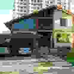 Em Campos, uma casa de campo: Chalés e casas de madeira  por Ronaldo Linhares Arquitetura e Arte,Campestre