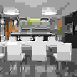 Интерьер жилого дома 600 м² Столовая комната в стиле модерн от Morskoy Architect Модерн Дерево Эффект древесины