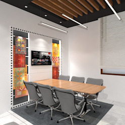 Meeting Room Ravi Prakash Architect Modern study/office Plywood White