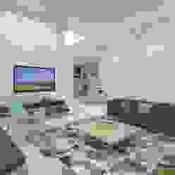 Living Room Ravi Prakash Architect Minimalist living room Engineered Wood White