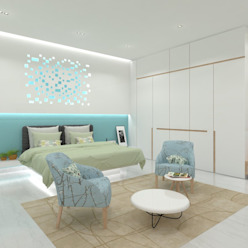 Master Bedroom Ravi Prakash Architect Minimalist bedroom Engineered Wood White