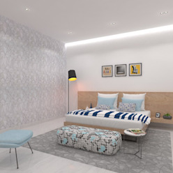Son's Bedroom Ravi Prakash Architect Minimalist bedroom Engineered Wood White