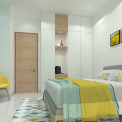 Guest Bedroom Ravi Prakash Architect Minimalist bedroom Engineered Wood White