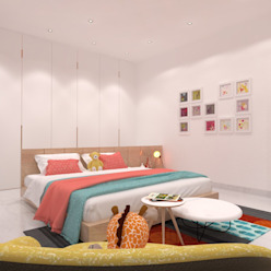 Daughter's Bedroom Ravi Prakash Architect Minimalist bedroom Engineered Wood White