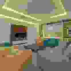 Lounge Ravi Prakash Architect Asian style living room Engineered Wood Multicolored