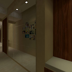 Asian style corridor, hallway & stairs by homify Asian
