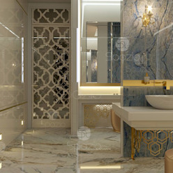 Luxury master bathroom design project in modern home in Dubai Spazio Interior Decoration LLC Modern bathroom Marble Amber/Gold