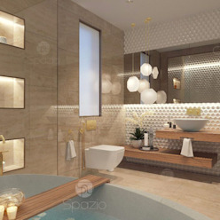 Modern master bathroom interior design in Dubai villa Spazio Interior Decoration LLC Modern bathroom Marble Beige