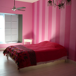 DORMITORIO A RAYAS Dormitorios rústicos de Estudio Dillon Terzaghi Arquitectura - Pilar Rústico Caliza