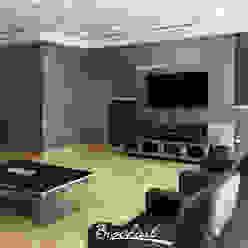 Sala familiar, técnica Acetato y Esfumado Acuarela ©: Paredes de estilo  por Brochart pintura decorativa,
