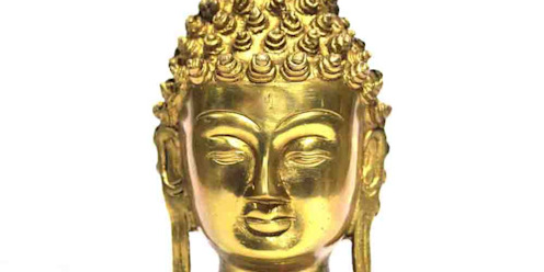 Gold Finish Brass Buddha Head Statue/ Home Decor Sculpture/ Religious Figure/ Table Top/ Online Shakyamuni Statue M4design ArtworkSculptures
