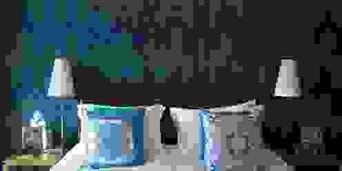 Peacock Wallpaper Feature Wall in White Bedroom Design by Deborah Ltd Modern style bedroom