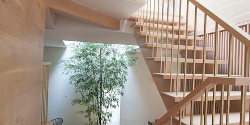staris Modern Corridor, Hallway and Staircase by AtelierSUN Modern Engineered Wood Transparent