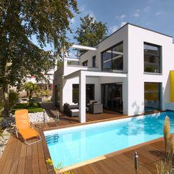 BAUHAUS VILLA MIT AUSSENPOOL b2 böhme PROJEKTBAU GmbH Moderne Häuser
