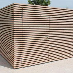Design Gerätehaus Stahl mit Belattung Douglasie Fellbacher Metall- und Holzbau GmbH Moderne Schulen