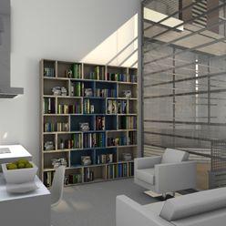 Librería de corte recto para estudios y espacios anexos TIMBER-BOX Estudios y despachos de estilo moderno