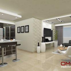 Diseño interior en apartamento, espacio sala-cocina om-a arquitectura y diseño Cocinas de estilo moderno