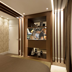 Designer de Interiores e Paisagista Iara Kílaris Modern Bedroom Wood Brown