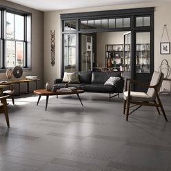 Stijlvolle ideeën met tegels voor de gehele woning Sani-bouw Industriële woonkamers Tegels Grijs