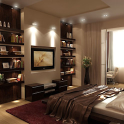 Спальня 14 кв. м в двухкомнатной квартире, современный стиль Студия интерьера Дениса Серова Спальня в стиле модерн