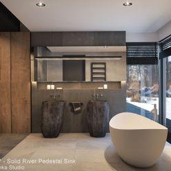 Pedestal Stone Sinks homify Minimalist bathroom