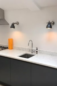 Handleless Paintable Kitchen Finished In Farrow & Ball Downpipe: modern Kitchen by Just Click Kitchens