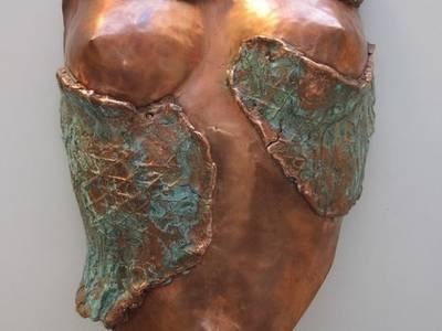 BUSTE BAS RELIEF:  de style  par ROJO  Sculpture cuivre bronze