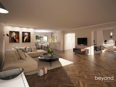 Visualisierung Umbaukonzept EFH: klassische Wohnzimmer von beyond REALITY | Architekturvisualisierung