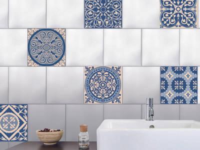 6 adhésif pour carrelage - Faux carreaux de cimet bleus:  de style  par Wall Sweet Home - Plage SA