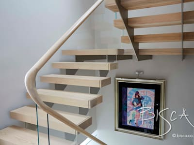 Multi Flight Staircase Design by Bisca: modern Corridor, hallway & stairs by Bisca Staircases