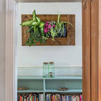Teak Horizontal Vertical Garden:  Artwork by Living Interiors UK