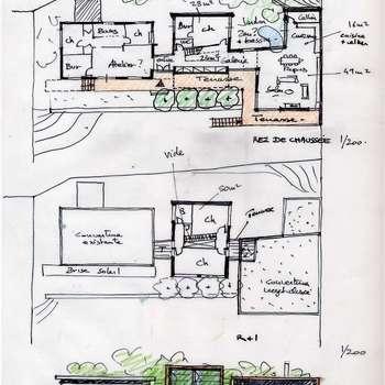 Casas de estilo moderno por Atelier d'Architecture Marc Lafagne,  architecte dplg