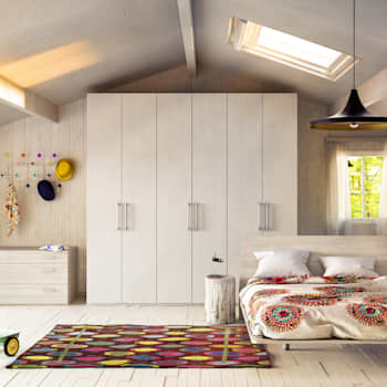 Camera A Shot: Camera da letto in stile in stile Moderno di de-cube