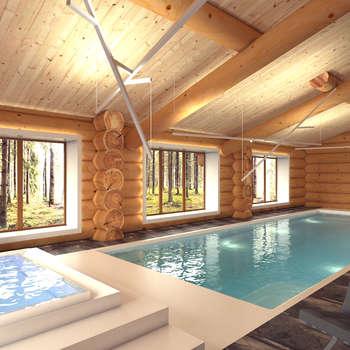 Интерьер бассейна с обширным фасадным остеклением. Стиль шале: Спа в . Автор – A-partmentdesign studio