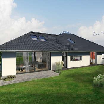K-MÄLEON Hybridhaus // Winkelbungalow: moderne Häuser von K-MÄLEON Haus GmbH