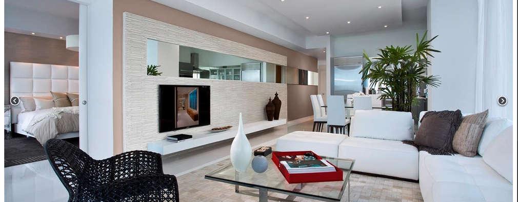Ambientación del living con muebles esquineros