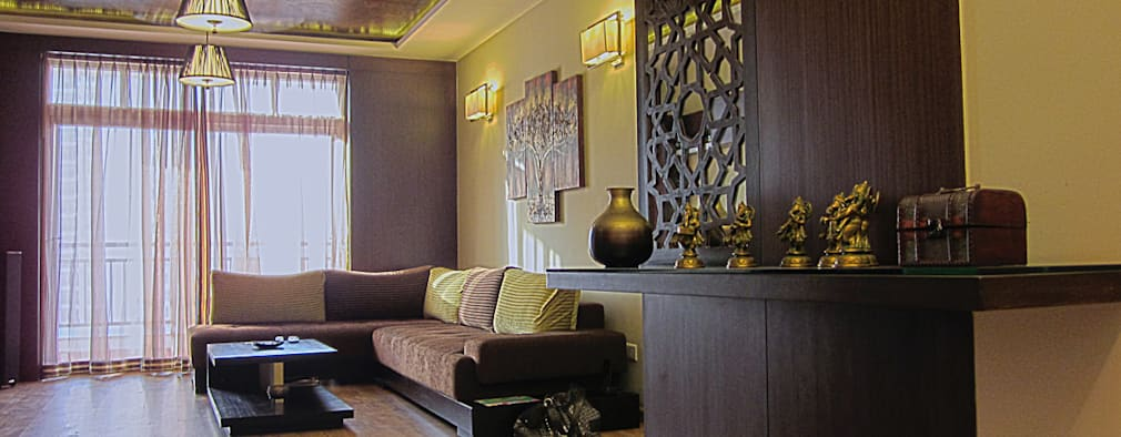Pooja Room Interior Design Ideas Part - 47: Modern Living Room By Cozy Nest Interiors