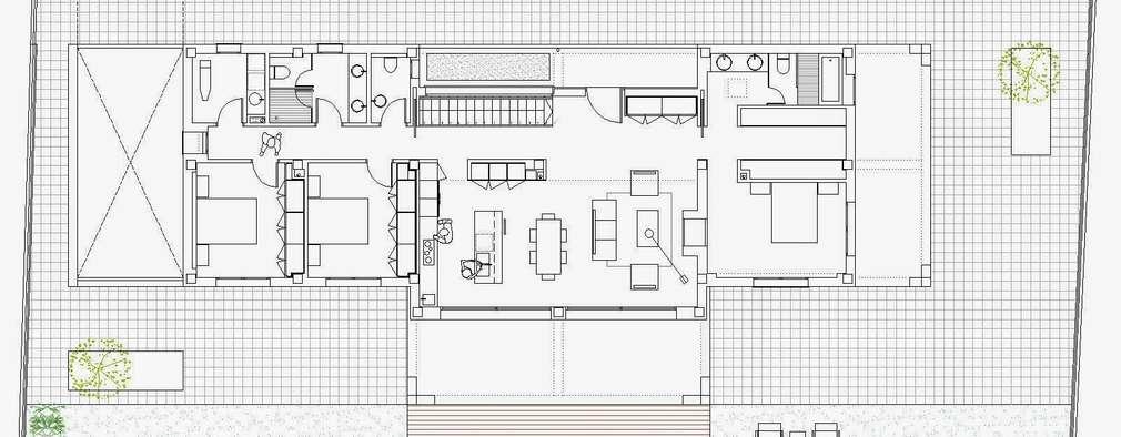 5 casas modernas de un piso con planos para inspirarte m s for Planos de casas 200m2