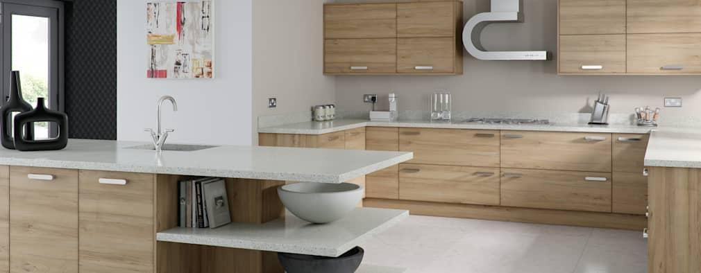 Modern Walnut Kitchen:   by Kitchens Continental Ltd